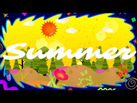 4K Summer Flowers Sun Children's Cartoon Background / Free Animated Funky Music Video For Happy Baby