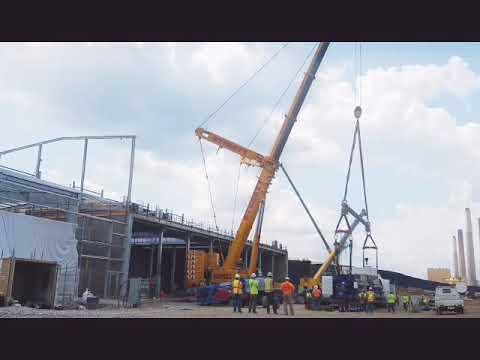 Sterett crane ltm1400 heavy lifting - YouTube
