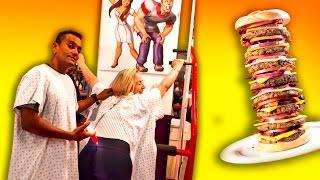 Funny Burger ( Heart Attack Grill Punishment ) Fremont Las Vegas