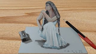 Drawing Cleopatra Illusion - 3D Trick Art on Paper - VamosART