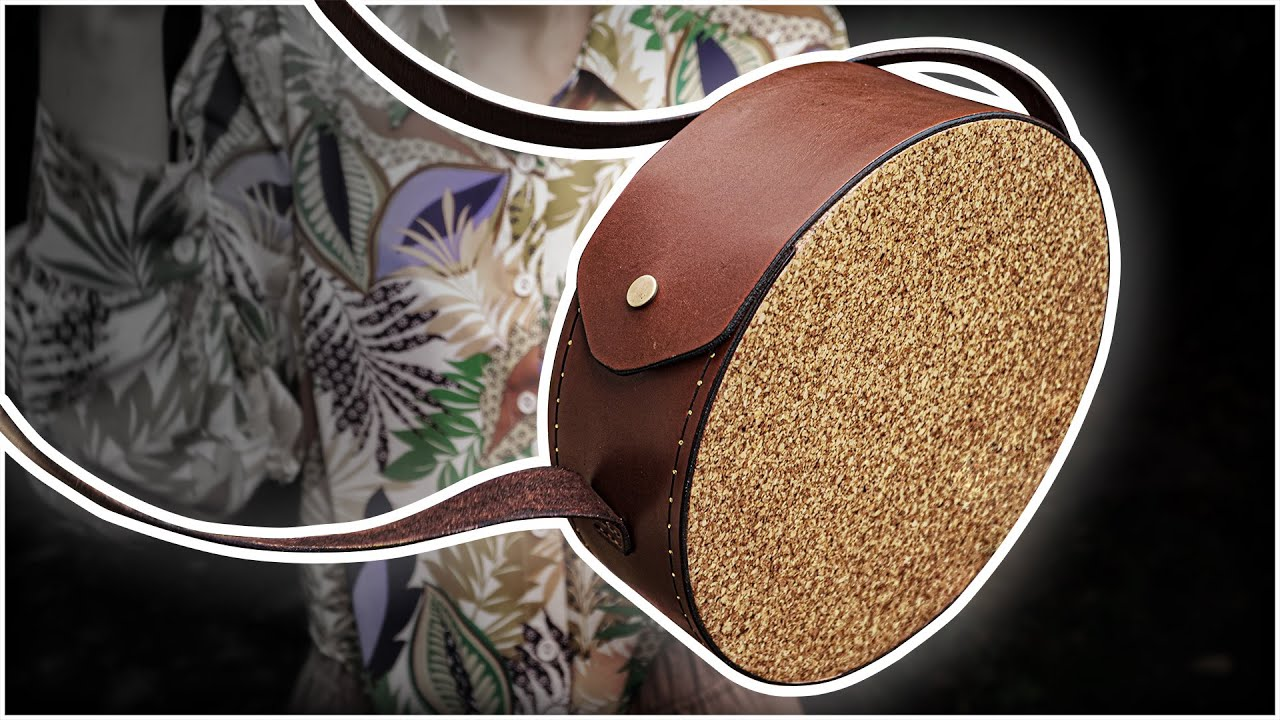 Leather And Cork Round Bag   Leatherworking