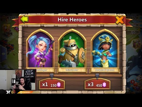 JT's Free 2 Play Rolling 10,000 Gems Hero Collector Castle Clash