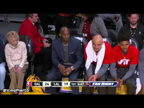 Kobe makes Larry Nance sit on the floor do he can have a seat on the bench