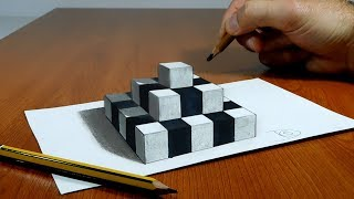 3D Trick Art on Paper Chess Pyramid