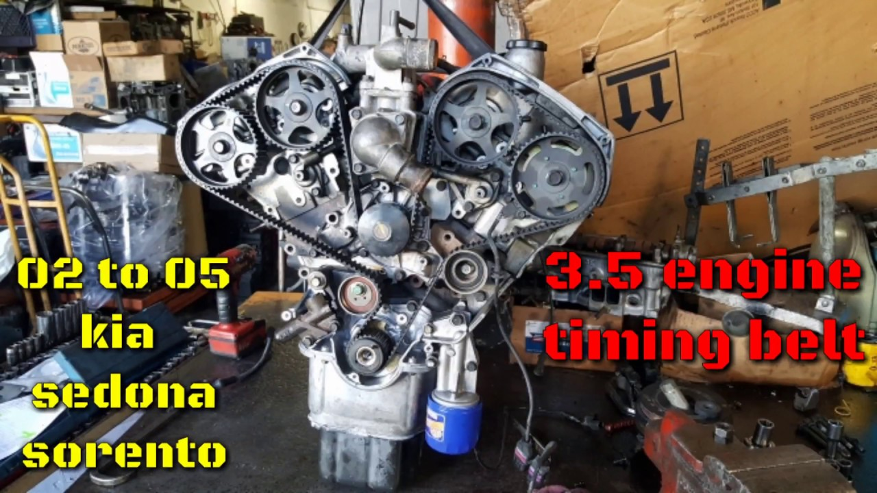 2002 2003 2004 2005 kia sedona kia sorento 3.5 engine: timing belt  installation, timing marks - youtube  youtube