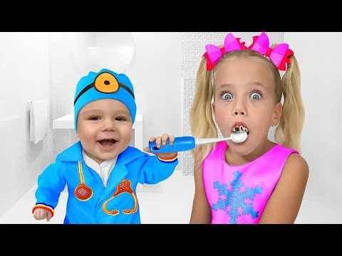 Slava is Going to Dentist! Kids Pretend Play Police and Mechanic