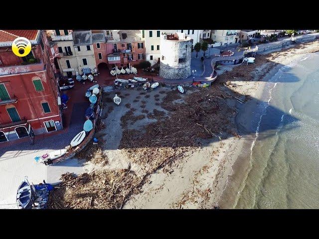 LAIGUEGLIA: COL DRONE PER VEDERE I DETRITI POST ALLUVIONALI SULLA SPIAGGIA: video #1