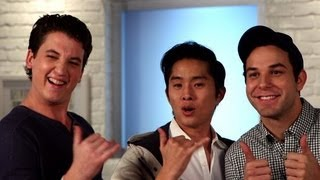 Skylar Astin, Justin Chon, and Miles Teller of 21 and Over in a Cocktail Mixing Contest!