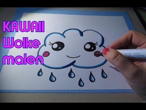 Kawaii Wolke, Regenwolke malen  drawing cloud