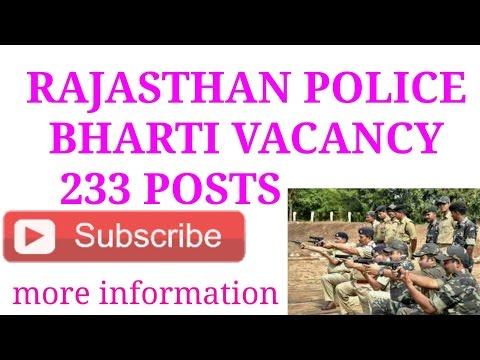 Rajasthan Police Bharti Vacancy 233 SI Post