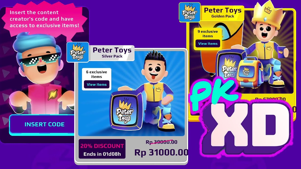 CONTENT CREATOR CODE PK XD PETER TOYS (valid until 12 July) - YouTube