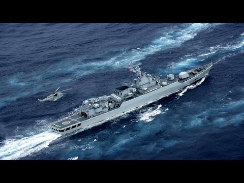 China military navy force 055 Destroyer Keeps patrolling over East China Sea territorial dispute