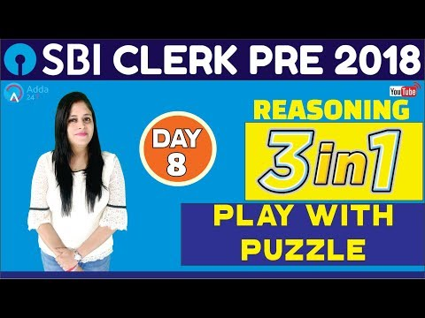 SBI CLERK PRE 2018 | Puzzle Tricks | 3 In 1 (Reasoning) Day 8