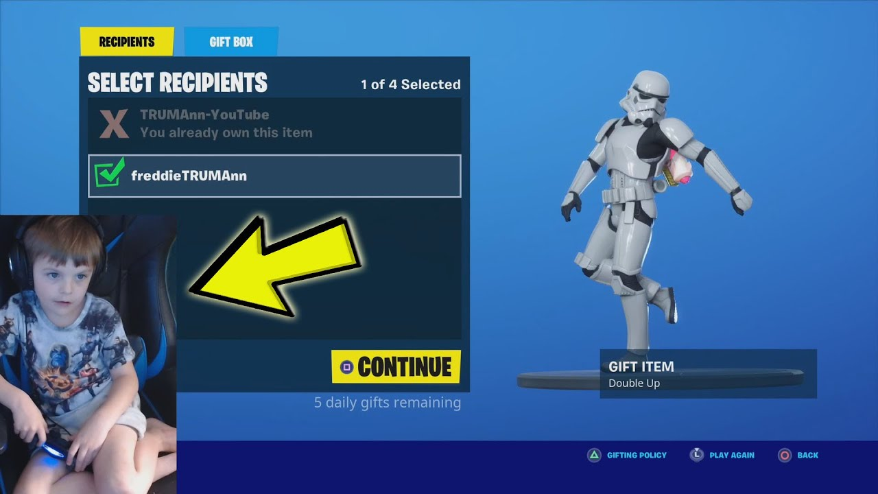 Giving My 6 Year Old Kid Gifts From The Fortnite item Shop Worth More Then 3,000 V-Bucks!! (Part 1)