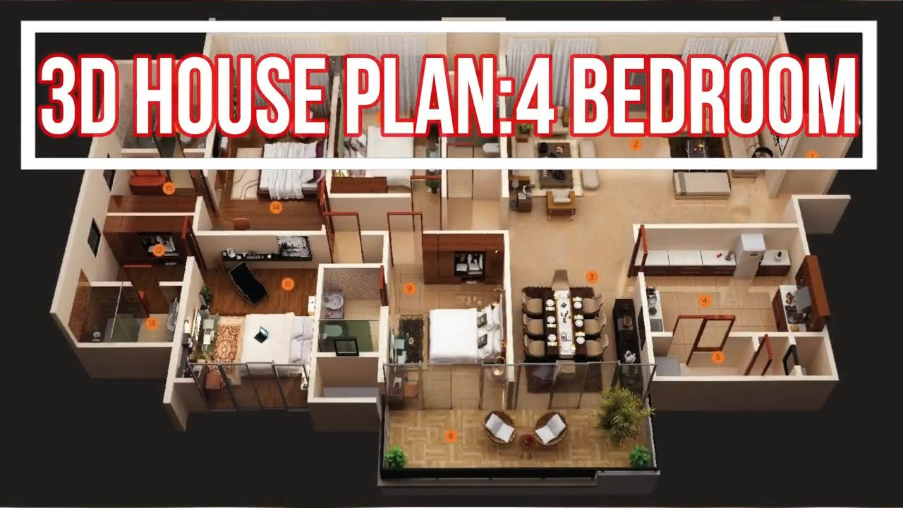 Top 20 Four Bedroom 3d House Plan 2019 Hd Youtube