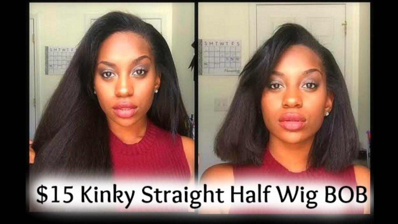 15 Kinky Straight Half Wig Outre Annie Cut Into A Bob Youtube