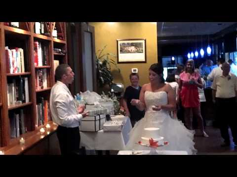 Brian and kate cut the cake