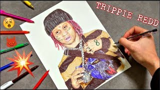 Drawing TRIPPIE REDD with ballpoint pen