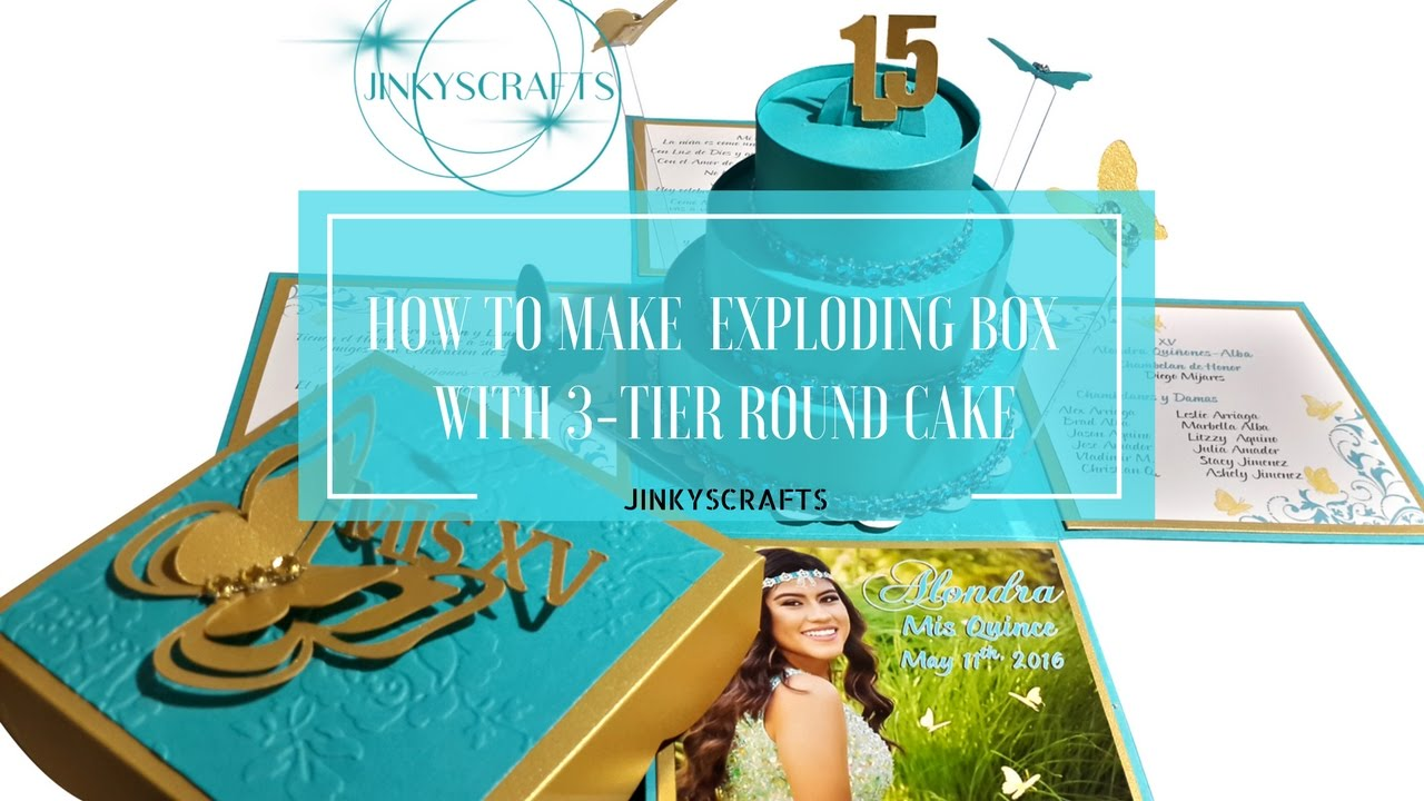 How To Make Exploding Box Invitation With 3 Tier Round Cake