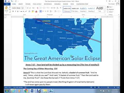 Is the GREAT AMERICAN Eclipse prophesied in the Bible?