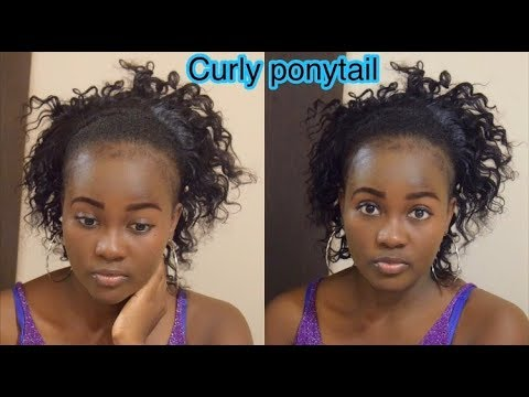 EASY HIGH PONYTAIL WITH CURLY WEAVE | PROTECTIVE HAIRSTYLE | SHORT ...