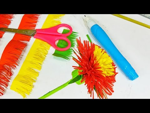 How to make flowers || Making red flower || DIY Paper Craft Tutorial
