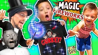 GURKEY MAGIC!!  Fireworks Tricks (FGTEEV Granny Shopping Vlog)