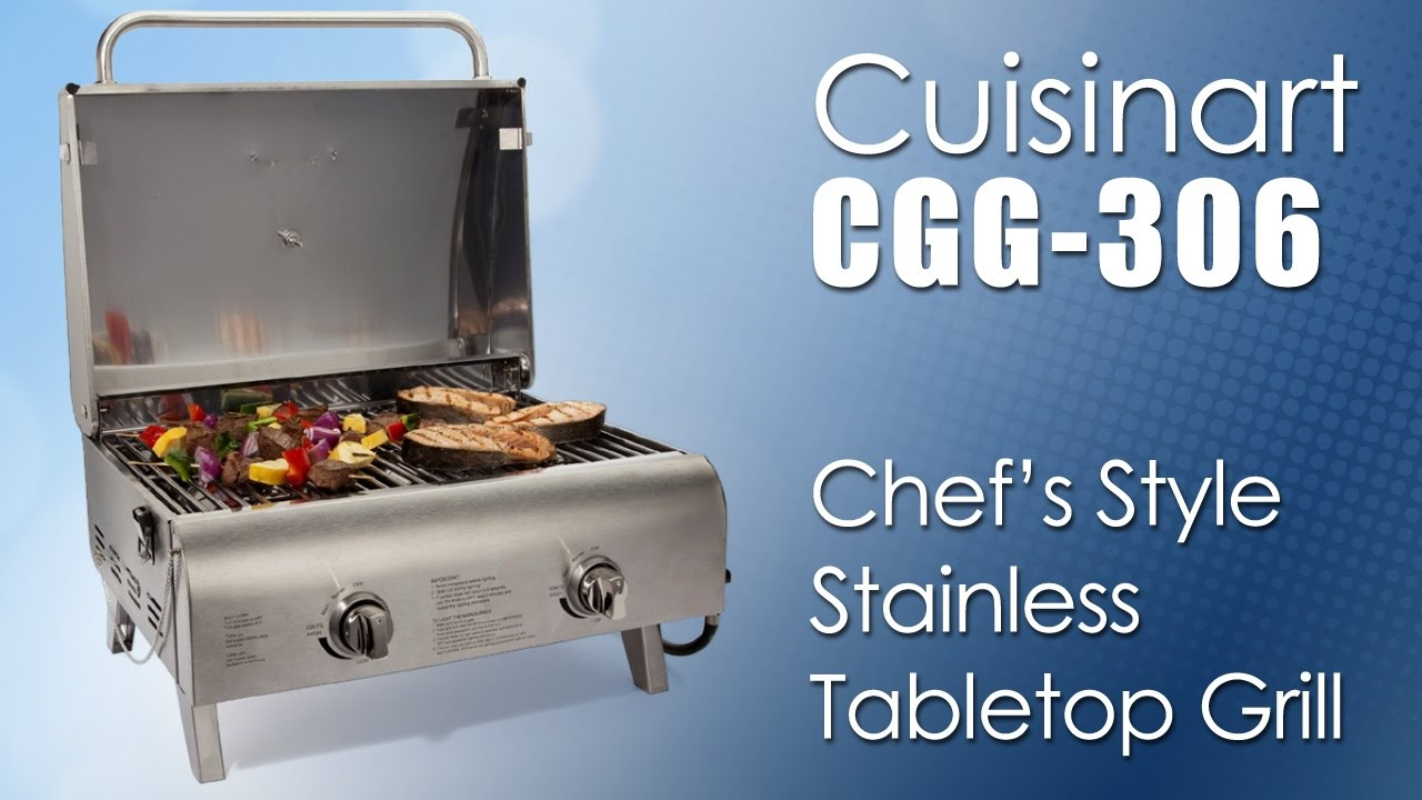 Cuisinart CGG 306 Chefu0027s Style Stainless Tabletop Grill   YouTube