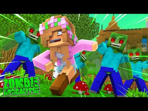 ESCAPING FROM ZOMBIES IN THE SEWERS?! Minecraft Zombie Apocalypse   Little Kelly