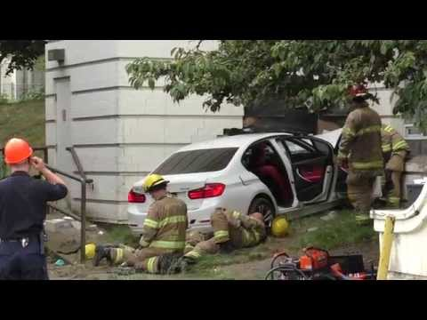 Car Crash Rescue Hit Building Riverview Hospital Coquitlam August 28 2014 Bcnewsvideo
