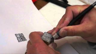 Carving a Name Seal for Jinyu Lu a Chinese Brush Painting Artist