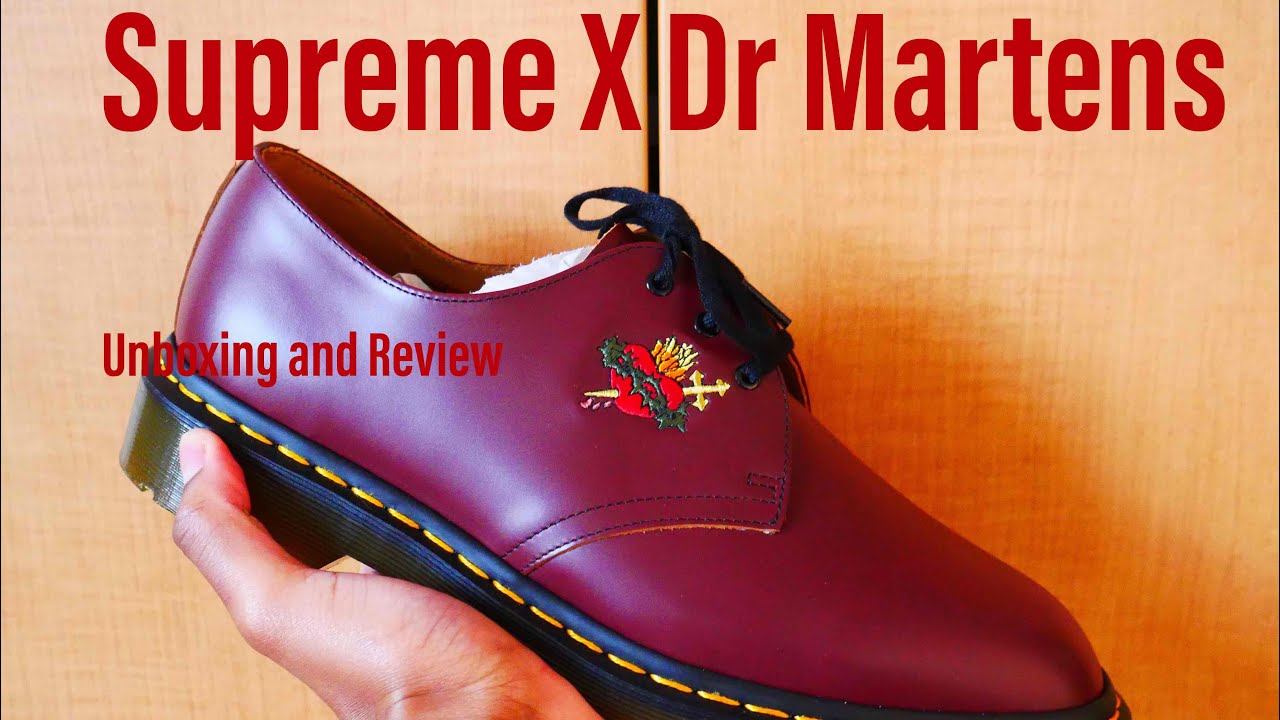 SUPREME X DR  MARTEN UNBOXING AND REVIEW - YouTube
