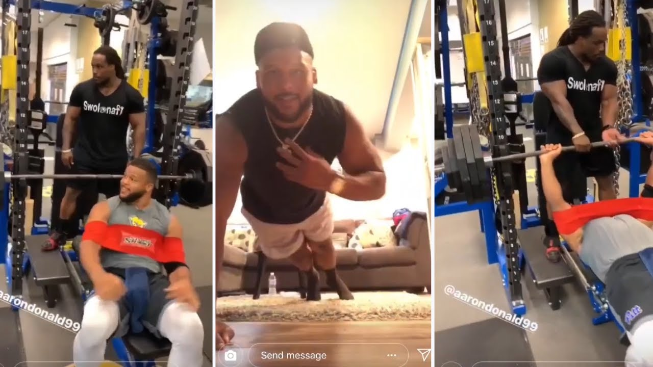 Aaron Donald Workout With Body Builder Bench Press 385