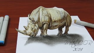 How to Draw a Realistic 3D Rhino - Anamorphic Art | Time Lapse