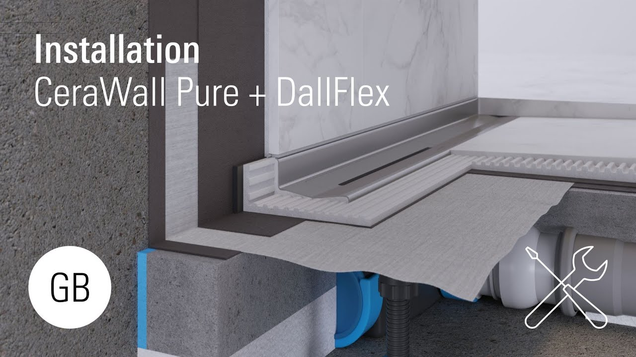 Duschrinne Dallmer Cerawall Select Installation Cerawall Pure With Dallflex