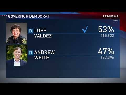 Lupe Valdez addresses supporters after defeating Andrew White