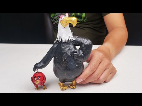 how to make mighty eagle with clay and gold foil | Koys Crafts