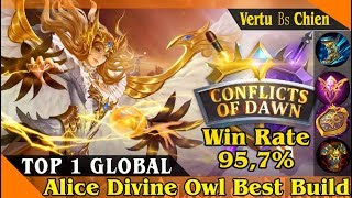Win Rate 95,7%, Top 1 Global Alice by Vertu Bs Chien, Mobile Legend gameplay and Build