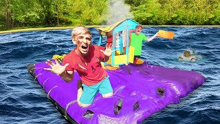 SURVIVING LAST TO LEAVE BACKYARD WATERPARK with POND MONSTER!! (Winner Gets $10,000)