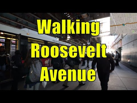 ⁴ᴷ Walking Tour of Roosevelt Avenue, Queens, NYC from Sunnyside to Flushing (GPS Overlay)