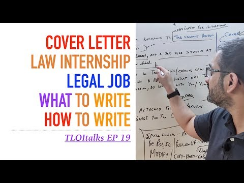 TLOItalks EP 19 | Legal Law Internships & Jobs | Cover Letter How To Write