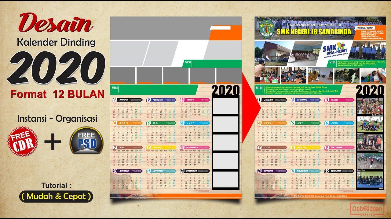 Template Desain Kalender Dinding 2020 Format 12 Bulan Free ...