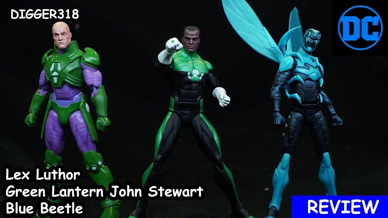 DC Icons Lex Luthor Blue Beetle Green Lantern John Stewart Toy Review 4K