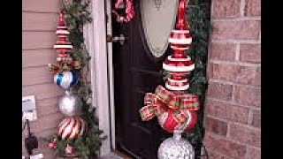 Outdoor Christmas Decor / Large Topiary and Large Gift Box idea