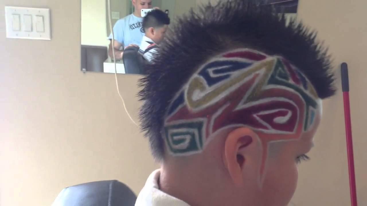 mohawk taper and hair tattoo