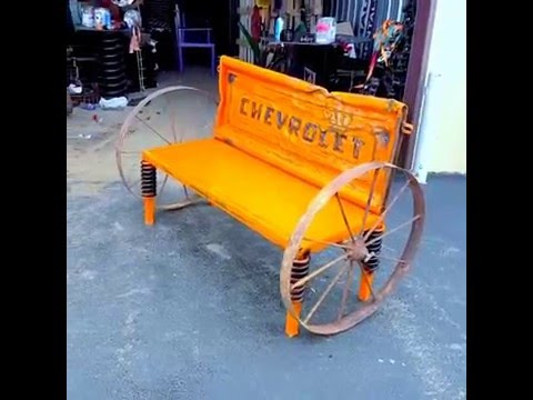 Upcycled Chevrolet Truck Tailgate Bench Garden Furniture