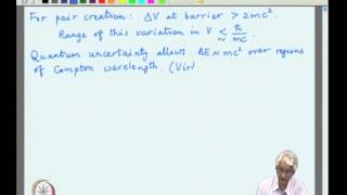 Mod-01 Lec-11 The Klein paradox, Pair creation process and examples