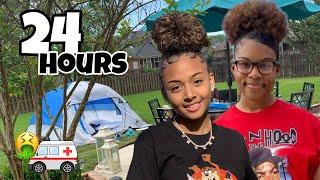 24 Hour Challenge Overnight in my Backyard  *i got so sick* | LexiVee03