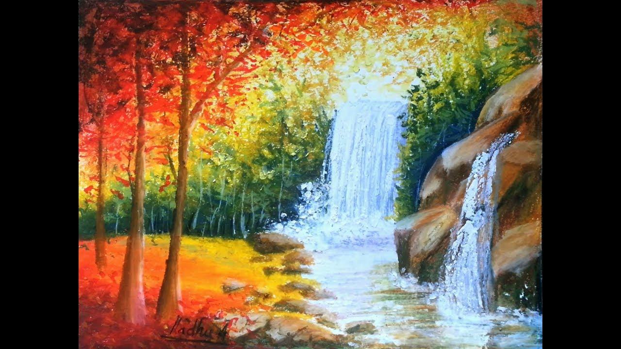 Waterfalls - Oil Pastel Tutorial - YouTube