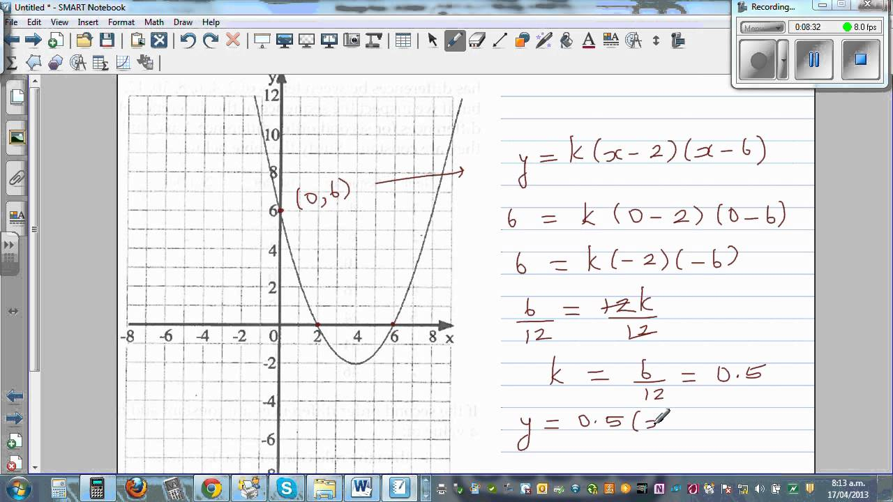 Writing equation of a parabola from the graph using intercept and vertex  forms